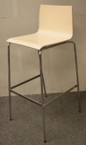 Barkrakk / barstol i hvitbeiset bjerk / krom fra Piiroinen, sittehøyde 80cm, med noe brukslitasje