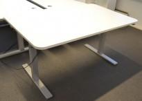 Duba B8 skrivebord med elektrisk hevsenk i hvitt, 160x100cm, pent brukt