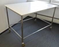 Barbord / ståbord med hjul, hvitt med understell i rustfritt stål, 150x100cm, pent brukt