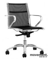 Konferansestoler fra Sitland i sort/krom, mod Ice Manager, pent brukt