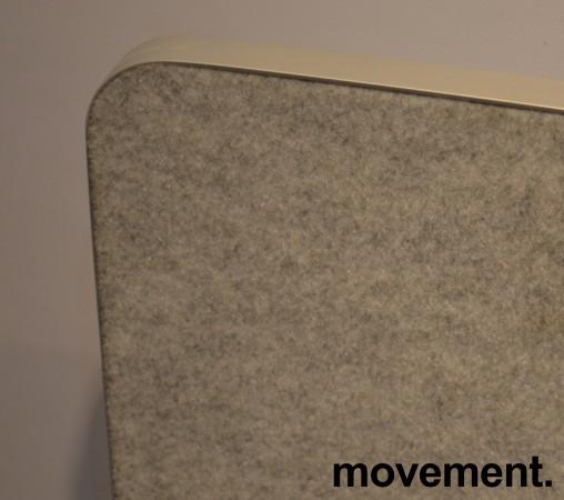 Bordskillevegg / bordskjerm i grått, melert stoff, kant i alu, 170x70cm, pent brukt bilde 2