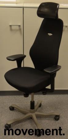 Kinnarps Synchrone 8000, Plus 8, høy rygg, nakkepute i skinn, gelarmlene, nytrukket i sort, pent brukt bilde 1