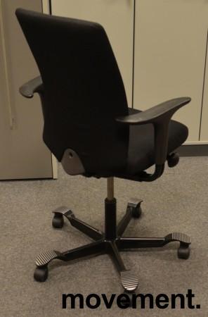 Håg H05 5600 kontorstol i sort, nytrukket, med armlener, pent brukt bilde 2