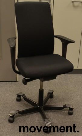 Håg H05 5600 kontorstol i sort, nytrukket, med armlener, pent brukt bilde 1