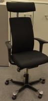 Håg H05 5600 kontorstol med nakkepute og armlener, nytrukket i sort