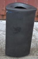 Avfallsbøtte / søppelbøtte i sortlakkert stål fra Finbin, 40x40cm, høyde 77cm, pent brukt
