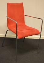 Konferansestol i rød mikrofiber / krom, pent brukt