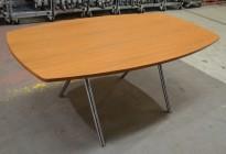 Lekkert, kompakt møtebord i kirsebær / krom, 180x100cm, 6-8personer, pent brukt