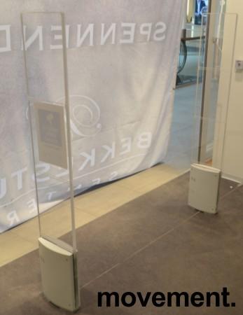 Alarmportal / alarmantenne Checkpoint Classic Style i hvit plast / plexi, høyde 155cm, alarmer følger med, pent brukt bilde 1