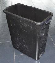 Smalt søppelspann / søppelbøtte i sort plast, 58,5cm høyde, pent brukt