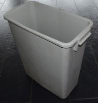 Smalt søppelspann / søppelbøtte i grå plast, 58,5cm høyde, pent brukt