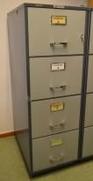 Brannskap / arkivskap med 4 skuffer fra Chubb, bredde 52cm, høyde 153cm, pent brukt / retro