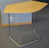 Lite loungebord i bjerk / satinert stål, 74x44, pent brukt