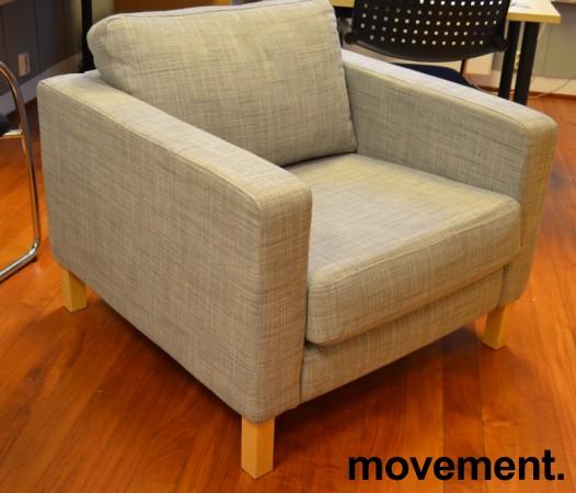 1-seter / loungestol fra IKEA, Karlstad i grått stoff / bjerk, bredde 90cm, pent brukt bilde 1