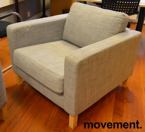 1-seter / loungestol fra IKEA, Karlstad i grått stoff / bjerk, bredde 90cm, pent brukt bilde 2