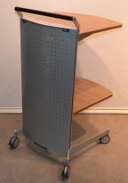 Talerstol / stand på hjul fra König Neurath i valnøtt / grålakkert metall, 107 cm høyde, pent brukt