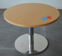 Loungebord / sofabord i bøk / krom fra Martela, Ø=60cm, pent brukt