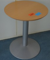 Lite, rundt bord i bøk / grålakkert metall fra Kinnarps, Ø=60cm, pent brukt