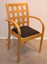 Konferansestol / møteborddstol i bjerk / sort stoff fra EFG, pent brukt