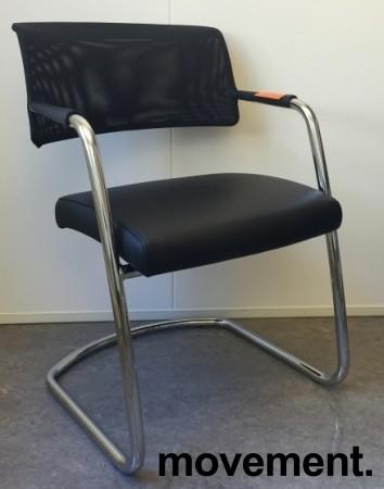 Konferansestol fra Sitland, modell Passepartout, i sort skinnimitasjon / krom, pent brukt bilde 1