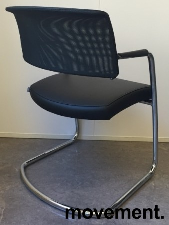 Konferansestol fra Sitland, modell Passepartout, i sort skinnimitasjon / krom, pent brukt bilde 2