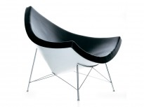 Loungestol: Vitra Coconut Chair, Sort skinn / hvit rygg, Design: George Nelson, pent brukt