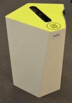 Søppelbøtte / papirkurv / kildesortering for papir / papp i hvitlakkert metall / limegrønn, pent brukt