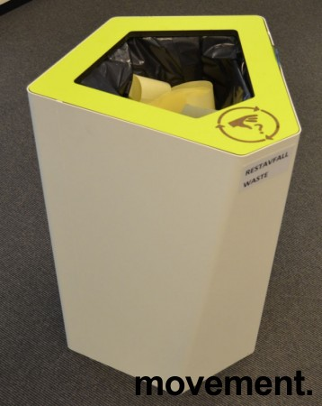 Søppelbøtte / papirkurv / kildesortering for restavfall i hvitlakkert metall / limegrønn, pent brukt bilde 1