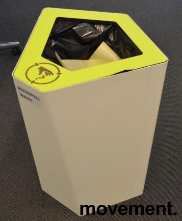 Søppelbøtte / papirkurv / kildesortering for restavfall i hvitlakkert metall / limegrønn, pent brukt bilde 2