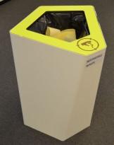 Søppelbøtte / papirkurv / kildesortering for restavfall i hvitlakkert metall / limegrønn, pent brukt
