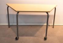 Kursbord / klasseromsbord på hjul fra ISKU, bjerk, trapesformet, pent brukt