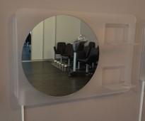 Speil til frisørsalong med ramme i frostet akryl, belysning montert, 115x75cm, pent brukt