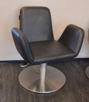 Frisørstol med justerbar høyde fra Welonda, sort skinnimitasjon, pent brukt
