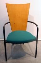 Kinnarps konferansestol / besøksstol, modell Ari i kirsebær/grønt/sort, brukt
