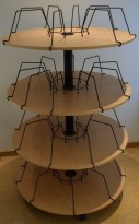 Permkarusell for kontor, 4 høyder, bøk/sort farge, pent brukt