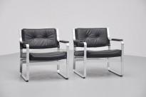 Vintage design loungestol Mondo fra J.O.C, design: Karl-Erik Ekselius, Sort skinn / Aluminium, pent brukt