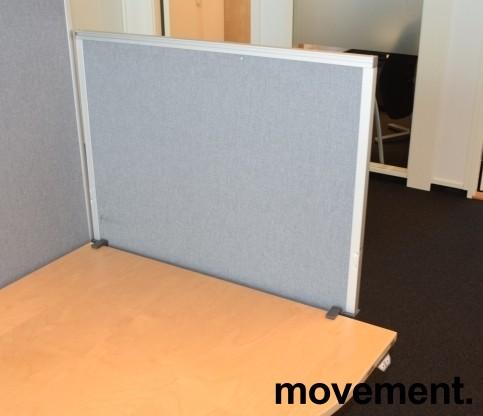 Kinnarps Rezon bordskillevegg i lys grå farge til kontorpult, 80cm bredde, 65cm høyde, pent brukt bilde 3
