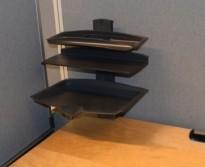 Kinnarps penneholder / pultordner med skrufeste for å feste på bordplate, grå farge, pent brukt