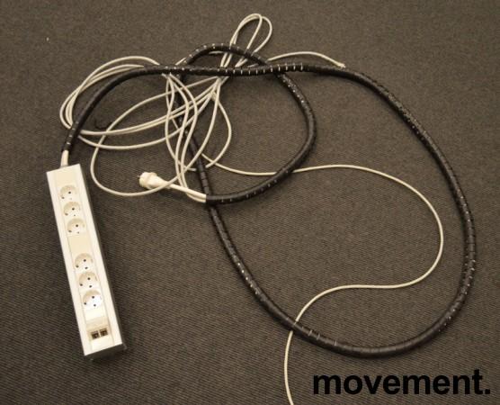 Strømfordeler / forgrener / skjøteledning fra Rehau med 2 nettverkspunkter CAT7 og 6 stk stikk, pent brukt bilde 1