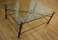 Loungebord / glassbord / sofabord i rustikk stil, 120x80cm, pent brukt