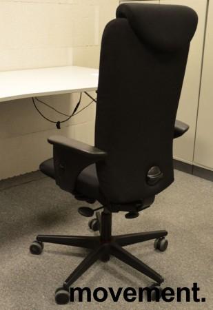 Savo Apollo med høy rygg, armlene og nakkepute, nytrukket i sort stoff, pent brukt bilde 2