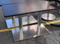 Kafebord, rektangulært 100x50cm, Brunsvart plate, satinert stålunderstell, brukt