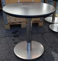 Kafebord med rund, brunsvart bordplate, Ø=60cm, H=64,5cm, brukt