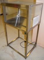 Utstillingsmonter / display i glass/rustfritt stål, med belysning, 80b x 65d x 140h, pent brukt