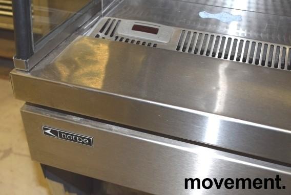 Bruskjøleskap / produktkjøler fra Norpe i rustfritt/glass 120,5cm bredde, 131,5cm høyde, pent brukt bilde 7
