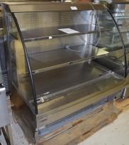 Bruskjøleskap / produktkjøler fra Norpe i rustfritt/glass 120,5cm bredde, 131,5cm høyde, pent brukt