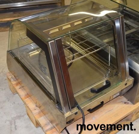 Matvarmer for benkeplassering fra Unis, lekker modell i rustfritt/glass, 48cm bredde, pent brukt bilde 5