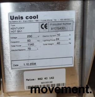 Matvarmer for benkeplassering fra Unis, lekker modell i rustfritt/glass, 48cm bredde, pent brukt bilde 6