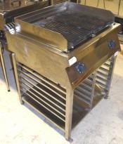 Stor Zanussi grill på stativ, 80cm bredde, 2 soner, 400V, KGE800T 12kW, pent brukt