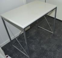 Lite utstillingsbord i satinert stål / hvit bordplate, 80x50x71cm, brukt